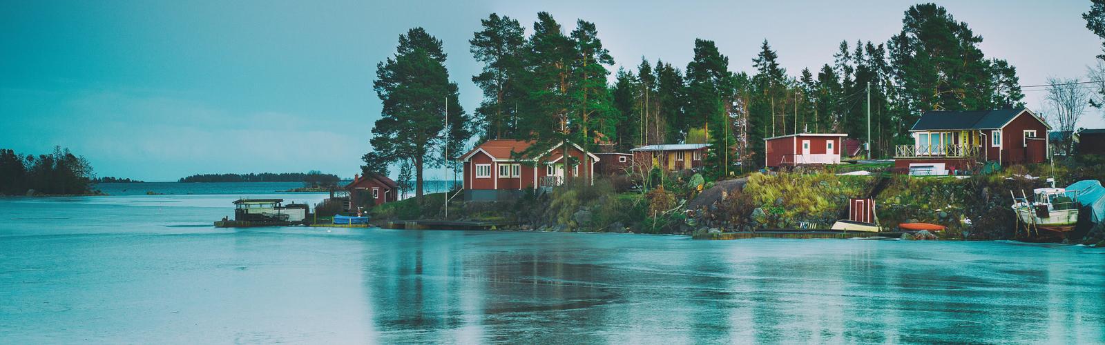 Nordic nature, island and lake
